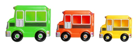 school buses: Toy School Buses on White Background Stock Photo