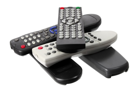 Remote Controls on White Background
