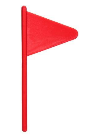 Red Golf Flag on White Background Stock Photo