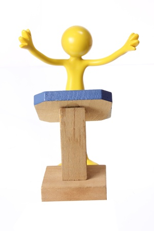 lectern: Miniature Figure on Rostrum with White Background
