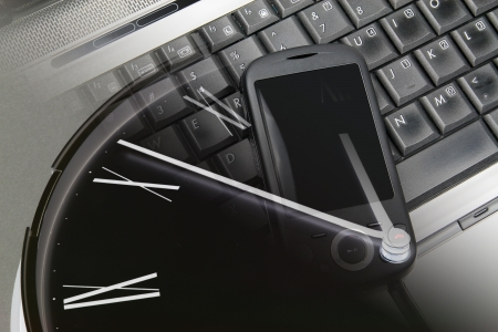 Composite of Clock, Smart Phone and Laptop photo