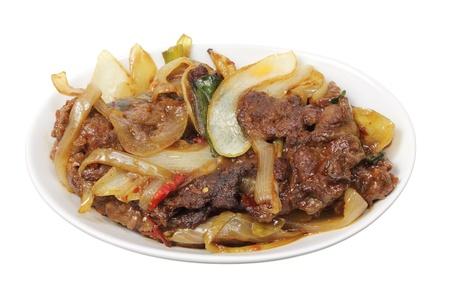 cebolla blanca: Mongol carne en el fondo blanco Foto de archivo
