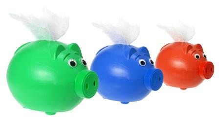 piggybanks: Piggybanks with Wings on White Background Stock Photo