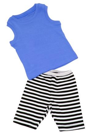 board shorts: Boys Shorts and Singlet on White Background Stock Photo