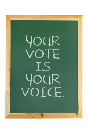Demokratie: Black Board mit Voting-Konzept
