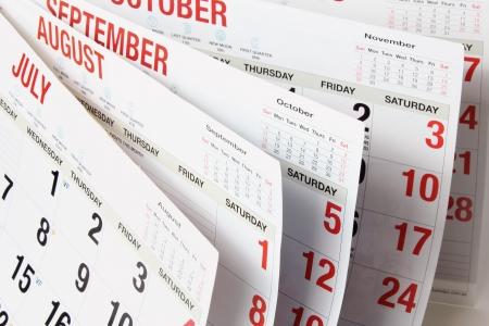 Close-up van de kalender pagina's