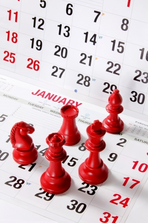 Chess Pieces on Calendar Stock Photo - 15983754
