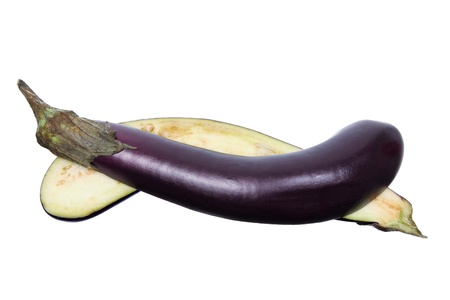 Aubergine on White Background Stock Photo - 16122465