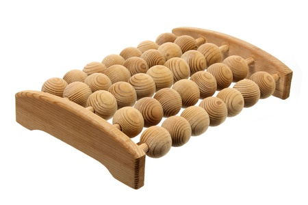 Wooden Foot Massager on White Background photo