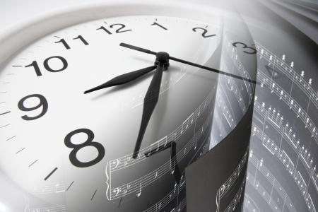 music score: Composite of Music Score and Clock