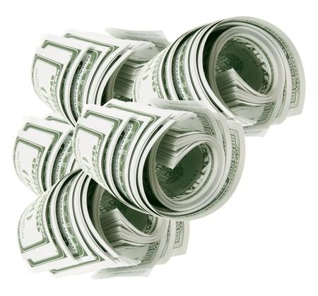 dollaro: Rotoli di banconote su sfondo bianco Archivio Fotografico