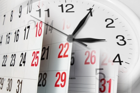 Composite of Calendar Pages and Clock Stock Photo - 16261092
