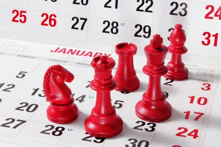 Chess Pieces on Calendar photo