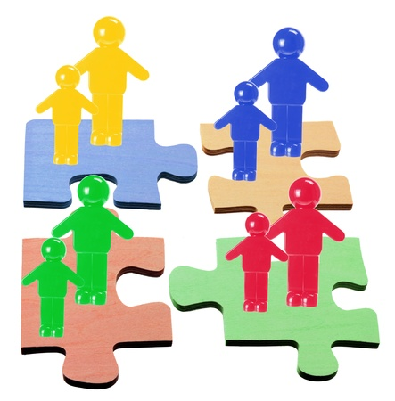 compatibility: Figures on Puzzle Pieces with White Background Stock Photo