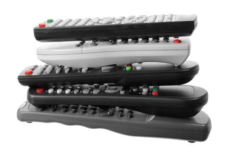 remote controls: TV Remote Controls on White Background