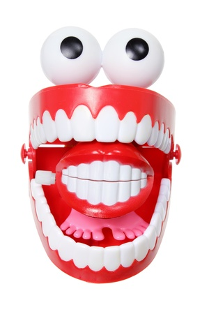 Chattering Teeth Toy on White Background photo