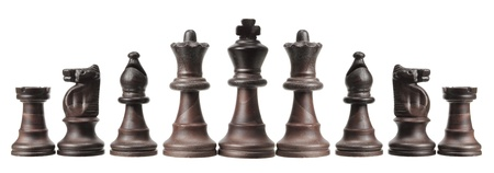 pastimes: Chess Pieces on White Background Stock Photo