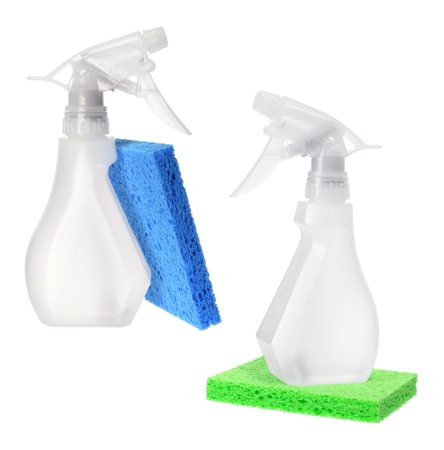 Spray Bottles and Sponges on White Background Stock Photo - 16662434