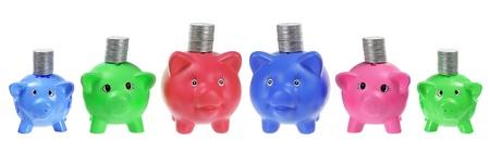 piggybanks: Piggybanks with Coins on White Background