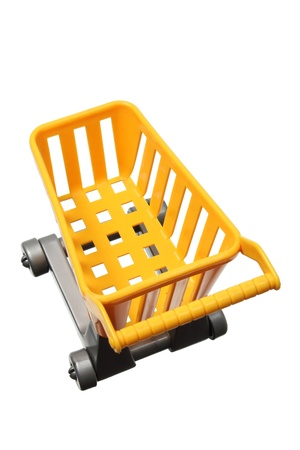 Miniature Shopping Trolley on White Background photo