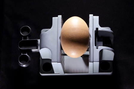 vise: Egg on Vise in Black Background Stock Photo