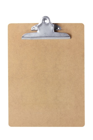 the clipboard: Portapapeles en el fondo blanco