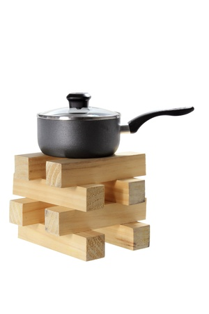 homeware: Pot on Stack of Wood on White Background