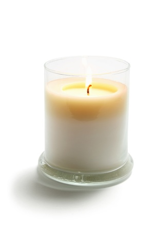 scented candle: Candle in Glass on White Background