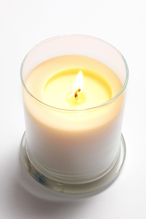 candlelit: Candle in Glass on Seamless Background Stock Photo