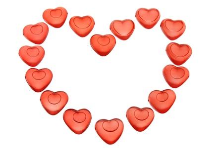 Heart Shape Ice Cubes on White Background Stock Photo - 17344114