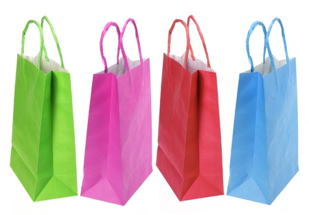 paperbags: Shopping Bags on White Background Stock Photo