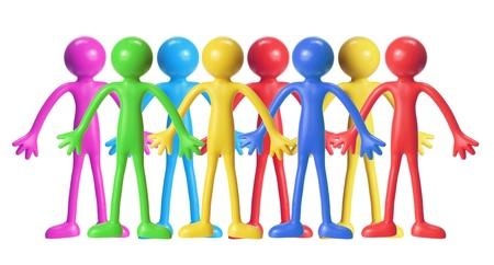 vida social: Figuras de goma en el fondo blanco