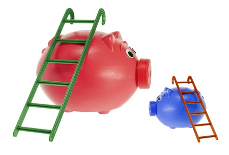 rungs: Piggy Banks with Ladders on White Background