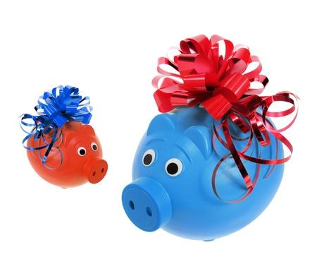 piggybanks: Piggybanks with Ribbons on White Background Stock Photo