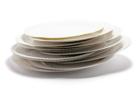 paper plates: Stack of Paper Plates on White Background