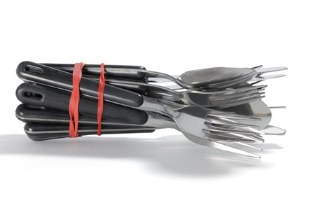 rubberband: Bunch of Cutlery on White Background