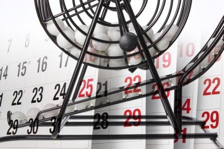 Composite of Bingo Game Cage and Calendar