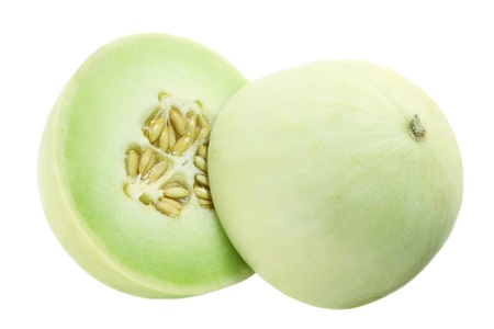 produce sections: Honeydew Melon on White Background