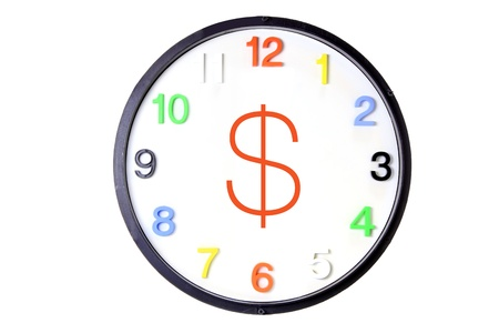 Wall Clock with Money Sign on White Background photo