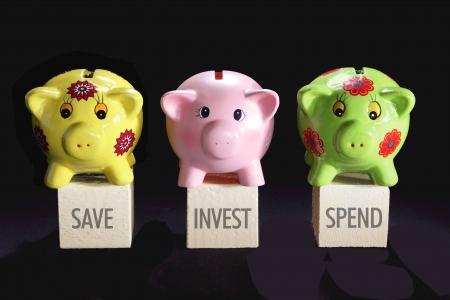 piggybanks: Piggybanks on Black Background Stock Photo