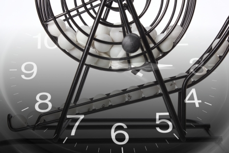 Composite of Bingo Game Cage and Calendar  photo