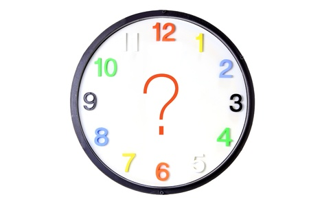 enquiry: Wall Clock with Question Mark on White Background