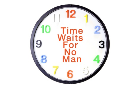 Wall Clock with Message on White Background photo