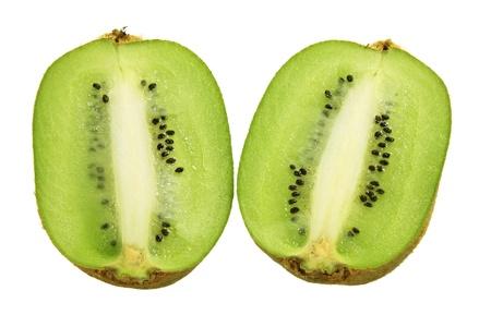 kiwi fruta: Mitades del kiwi en el fondo blanco Foto de archivo