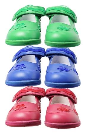 footgear: Girl Shoes on White Background Stock Photo