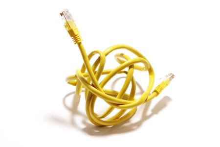 network cable: Network Cable on White Background Stock Photo