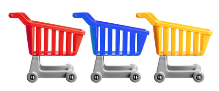 shopping carts: Miniature Shopping Trolleys on White Background