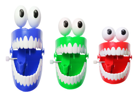 Chattering Teeth on White Background photo