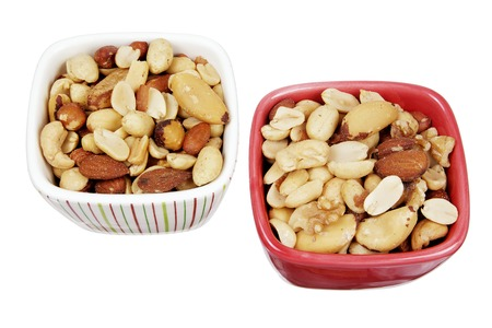 mixed nuts: Mixed Nuts in Bowls on White Background