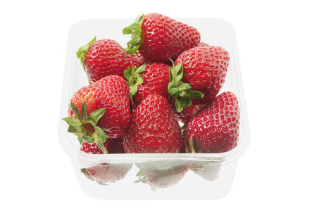 Strawberries in Box on White Background photo
